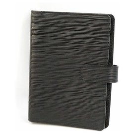 Louis Vuitton-LOUIS VUITTON Agenda MM couverture de cahier matériel argenté R20202 Noir-Noir