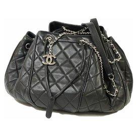 Chanel-CHANEL matelasse Womens shoulder bag black x silver hardware-Black,Silver hardware