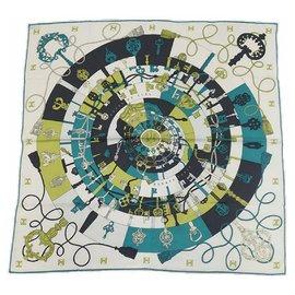 Hermès-Hermès Carre65 TOURS DE CLES Spirals to the Keys Womens scarf green x white-White,Green