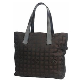 Chanel-CHANEL New Travel Line tote GM tote bag A15825 Dark brown-Brown