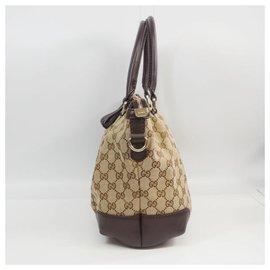 Gucci-gucci 2sac porté épaule façon sac cabas femme 247902 beige x marron-Marron,Beige