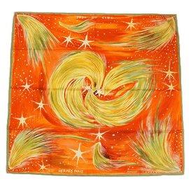 Hermès-Hermès Carre90 FEUX DU CIEL Sky Lights Womens scarf orange-Orange