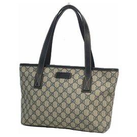 Gucci-Sac cabas femme Gucci GG plus épaule 211138 beige x marine-Beige,Bleu Marine