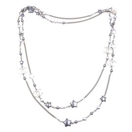 Chanel-Chanel Pearls CC Star Multicolor Silver lined Strand Long Necklace-Multiple colors