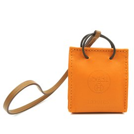 Hermès-Hermès Sac Shopping Orange Milo Agneau Swift Mini Feu Doré Charm-Orange