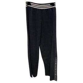Chanel-Pants, leggings-Black,White