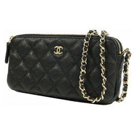 Chanel-CHANEL matelasse chain Wallet coco mark Womens shoulder bag A82527 black x gold hardware-Black,Gold hardware