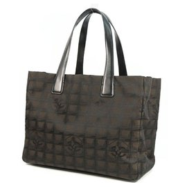 Chanel-CHANEL New Travel Line tote MM Womens tote bag A15991 Dark brown-Brown