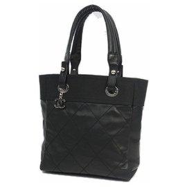 Chanel-CHANEL Paris Biarritz tote PM Womens tote bag A34208 black x silver hardware-Black,Silver hardware