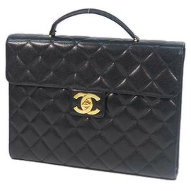 Chanel-CHANEL briefcase Womens business bag black x gold hardware-Black,Gold hardware