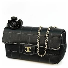 Chanel-CHANEL Mini chain Chocolate bar coco mark Womens shoulder bag black x gold hardware-Black,Gold hardware