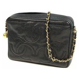 Chanel-CHANEL triple coco chain shoulder vintage Womens shoulder bag black x gold-Black,Golden