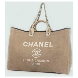 Chanel-Chanel Deauville 2WAY chain shoulder Womens handbag A66941 beige x silver hardware-Beige,Silver hardware