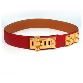 Hermès-HERMES Collier de Chien Mens belt red x gold hardware-Red,Gold hardware