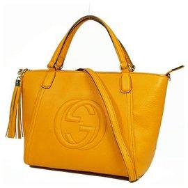 Gucci-Gucci Soho 2Sac porté épaule WAY Sac cabas femme 369176 d'orange-Orange
