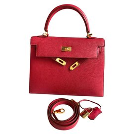 Hermès-hermes kelly 25 Rouge Vif Chevre  bag GHW-Red