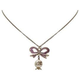 Chanel-Chanel Silver CC Ribbon Rhinestone Necklace-Silvery,White