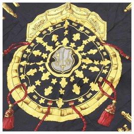 Hermès-Hermes Black Les Clefs Silk Scarf-Black,Multiple colors