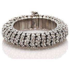 Céline-Celine Silver Crystal Bangle-Silvery