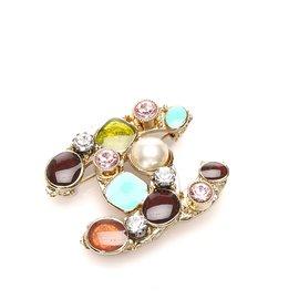 Chanel-Chanel Multi Rhinestone CC Brooch-Multiple colors