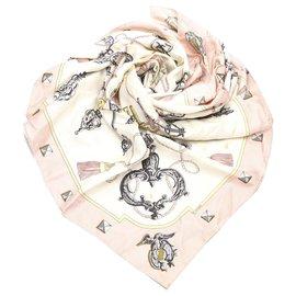 Hermès-Hermes Pink Les Cles Silk Scarf-Pink,Multiple colors