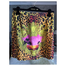 Versace For H&M-Versace for H&M new silk skirt with label-Leopard print