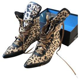 Roberto Cavalli-Roberto Cavalli summer ankle boots-Leopard print