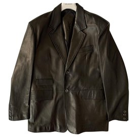 Yves Saint Laurent-Black lambskin vintage blazer jacket-Black