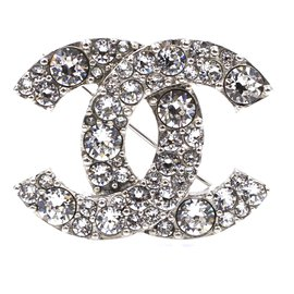 Chanel-Chanel Silver Crystals CC Textured Hardware Brooch-Silvery
