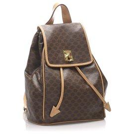 Céline-Celine Brown Macadam Drawstring Backpack-Brown