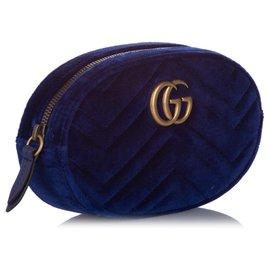 Gucci-Gucci Blue GG Marmont Velvet Belt Bag-Bleu