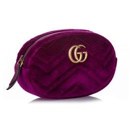 Gucci-Gucci Pink GG Marmont Velvet Belt Bag-Rose