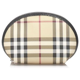 Burberry-Burberry Brown House Check Canvas Pouch-Brown,Multiple colors,Light brown