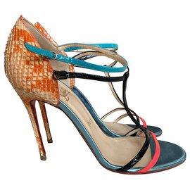 Christian Louboutin-Multicolored python sandals-Multiple colors