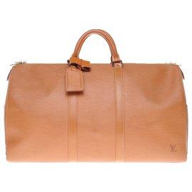 Louis Vuitton-Sac de voyage Louis Vuitton 55 en cuir épi couleur cognac-Caramel
