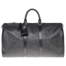 Louis Vuitton-Sac de voyage Louis Vuitton Keepall 45 en cuir épi noir-Noir