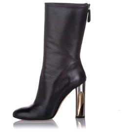 Alexander Mcqueen-Alexander McQueen Black Mid-Calf Leather Boot-Black