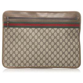 Gucci-Gucci Brown GG Clutch Bag-Marron,Multicolore,Marron clair