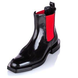 Alexander Mcqueen-Alexander McQueen Black Hybrid Chelsea Leather Boot-Black,Red