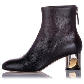 Alexander Mcqueen-Alexander McQueen Black Ankle Leather Boot-Black