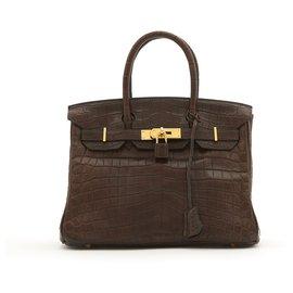 Hermès-Birkin 30 BROWN MAT POROSUS CROCODILE GOLD HDW-Brown,Gold hardware