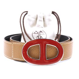 Hermès-Hermes 32mm Chaine D'ancre Enamel Buckle Reversible Leather Size 75 belt-Golden
