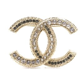 Chanel-Chanel Gold CC Multicolor Crystals Hardware Brooch-Multiple colors