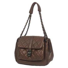 Chanel-Chanel 2.55 chain one shoulder Womens shoulder bag brown x silver hardware-Brown,Silver hardware