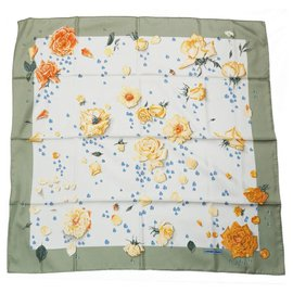 Hermès-Hermès Carre90 roses drop Flower Womens scarf green x orange-Green,Orange