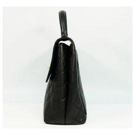 Chanel-CHANEL Kelly type matelasse Womens handbag black x gold hardware-Black,Gold hardware
