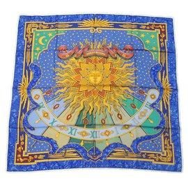 Hermès-Hermès Carre90 CARPE DIEM Womens scarf blue-Blue