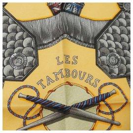 Hermès-Hermès Carre90 LES TAMBOURS Tambour drum Womens scarf orange-Orange