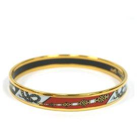 Hermès-HedyPM 70 jonc GP émail blanc noir rouge / or-Autre