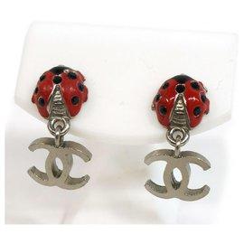 Chanel-CHANEL coco mark Swing Ladybug metal Womens Earrings-Other